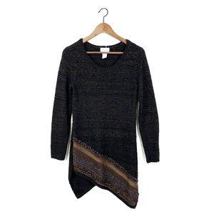Soft Surrounding Knitted Asymmetrical Tunic